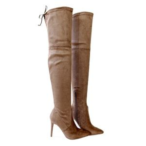 Sz 6.5 akira-91 taupe over the knee boots